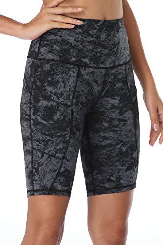 Oalka Women's Short Yoga Side Pockets High Waist Workout Running Shorts Black Carbon XL