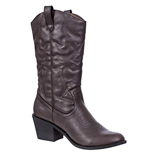 Charles Albert Women's Embroidered Modern Western Cowboy Boot in Brown Size: 7