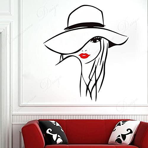 HUIJK Dormitorio decorativo Hermosa Mujer Cara Salón De Belleza Etiqueta De La Pared De Vinilo Pestañas Spa Salón Arte Calcomanías Interior De La Habitación De La Ventana De