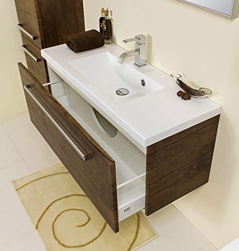 Quentis Badmöbel Genua, Breite 100 cm, 2-teilig, Holzdekor antik, 1 Schublade, Waschbeckenunterschrank aufgebaut