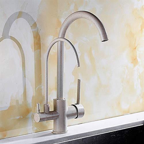 Grifo de cocina Bibcock agua pura agua caliente y fría todo de cobre doble salida triple purificación de agua (color: beige)