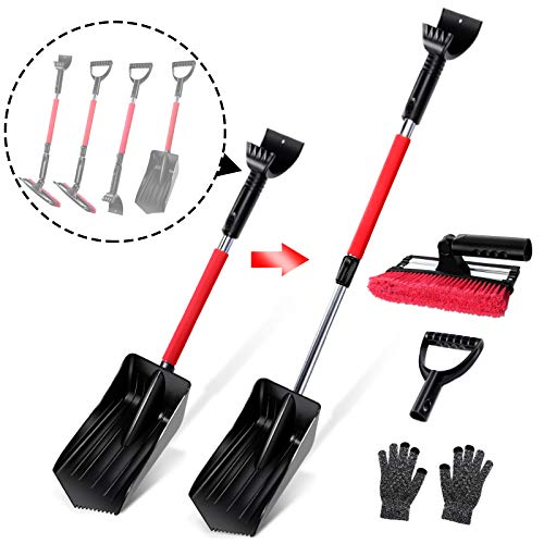 Topmart 5 in 1 Car Snow Brush Kit,Snow Shovel Set with Removable Snow Brush and Ice Scraper,Emergency Snow Removal Car Set,Extendable Telescopic Pole 21.5'-31.5',for Car,Camping,Garden