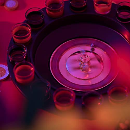 Relaxdays Roulette Trinkspiel, Partyspiel mit Drehrad, Schnapsgläsern & Kugeln, Roulettespiel für Partys, rot/schwarz - 3