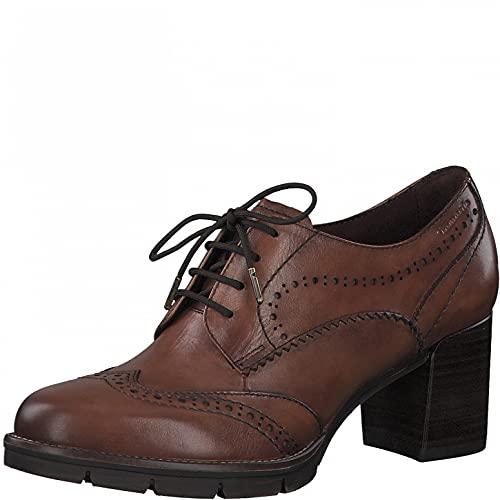 Tamaris Mujer Zapatos de tacón, señora Zapatos de tacón con Cordones,TOUCHit,Cordones Frontales,Comodidad,Moda,Cognac Leather,38 EU / 5 UK