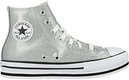 Converse Chuck Taylor All Star Platform EVA Hi Zilver/Wit Synthetisch Jeugd Sneakers Schoenen