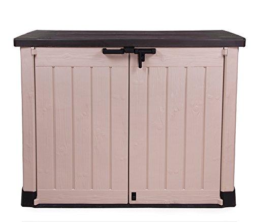 Keter Store It Out Max Gartenbox Mülltonnenbox Gerätebox Schuppen für 2 x 240 Liter Mülltonnen (Beige Braun)