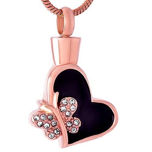 TIANZXS Hermoso Collar de Mariposa para Mujer, joyería de urna de cremación, Collar con Colgante de urna de Recuerdo con 4 Colores Diferentes 3