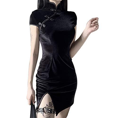 Damen Chinesischer Stil Traditioneller Retro Sexy Samt Kurz/Langarm Mini Split Cheongsam Qipao Kleid für Frauen Gr. Medium, Blackshort