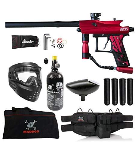Maddog Azodin KAOS 3 Beginner HPA Paintball Gun Marker Starter Package B - Red/Black