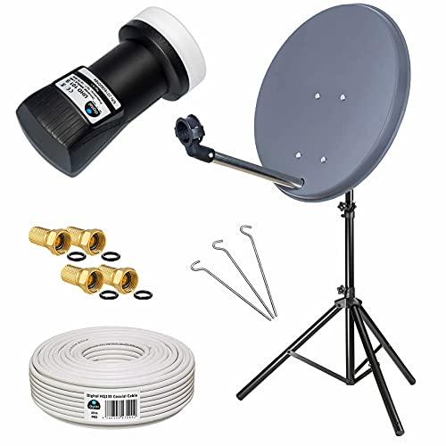 Camping Mini Sat Anlage: 40cm Schüssel (Anthrazit) + Dreibein Stativ 1,5m (Stahl) + Single LNB 0,1dB + 10m SAT-Kabel - HDTV UHD 3D 4K fähig