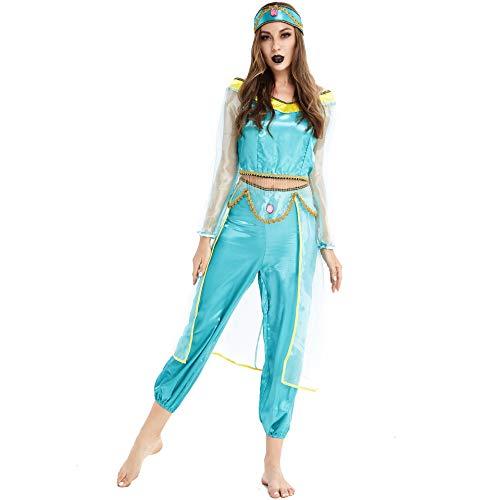 Disfraz de Halloween para mujer adulta de uniforme europeo y americano, disfraz de Halloween Cosplay sexy Aladdin Magic Lamp Jasmine Princess Dress (estilo 2,2XL)