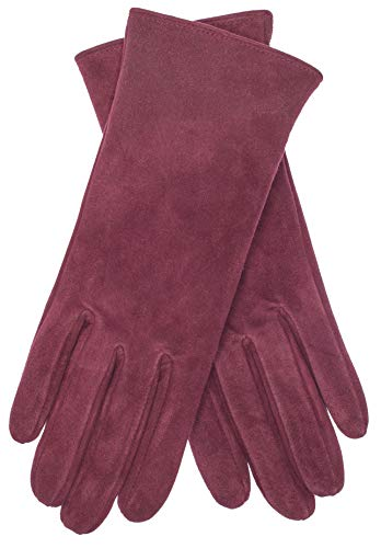 EEM Damen Leder Handschuhe JESSICA aus Lamm Wildleder; weinrot, M