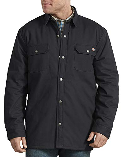 Dickies Men's Big and Tall Plaid Lined Shirt Jacket, Black, 4X-Large