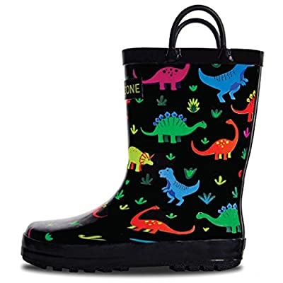 LONECONE Rain Boots with Easy-On Handles in Fun Patterns for Toddlers and Kids, Fossil Friends, 8 Toddler