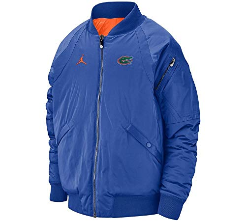 Nike Jordan Florida Gators Reversible Thick Winter Bomber Athletic Jacket - Blue Orange (Large)