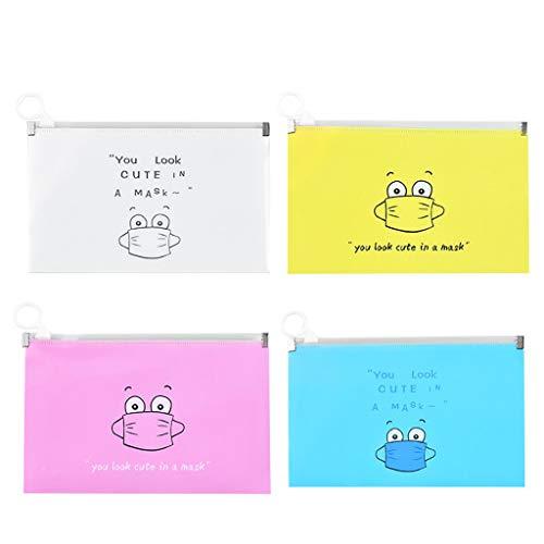 Hanomes 4 Stück Aufbewahrungstasche für Mundschutz, Aufbewahrung für Tragbare Gesichts-masken, Aufbewahrungsbox für Staub-masken, Aufbewahrungstasche für Mundschutz, Faltbar (Mehrfarbig)