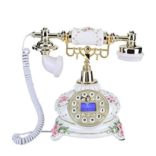 PUSOKEI Teléfono Fijo Retro, teléfono Antiguo, teléfono de marcación con Cable Vintage, para Oficina en casa con Sistema Dual FSK/DTMF, con función de Pausa/remarcación