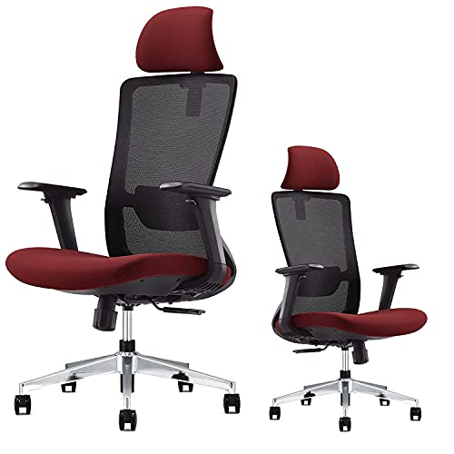 EGOSI Ergonomic 4D Armrest Office Chair Adjustable Desk Chair with Sliding Seat, High Back Mesh Computer Chair with Adjustable Lumbar Support,Headrest, Swivel Home Office Desk Chair, (Red Mesh)