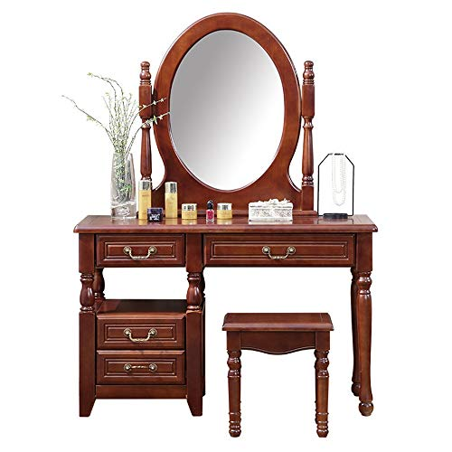 Review Canyixiu-home Vanity Table Set, Vanity Set with Mirror and Stool Dressing Table Vanity Makeup Table 4 Drawers for Girls Women Bedroom Furniture (Color, Size : Free)