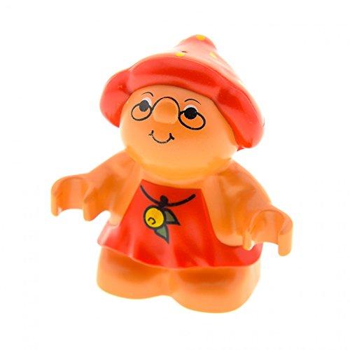 1 x Lego Duplo Figur Frau Little Forest Friends Outfit Kleid rot mit Beere gelb Hut Pilz Erdbeere Melba Strawberry Wichtel Zwerg 31231pb02