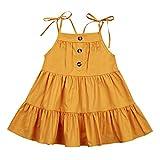 Toddler Girl Baby Kids Colorful Summer Halter Fashion Backless Dress Sundress (Mustard Yellow, 6-12 Months)