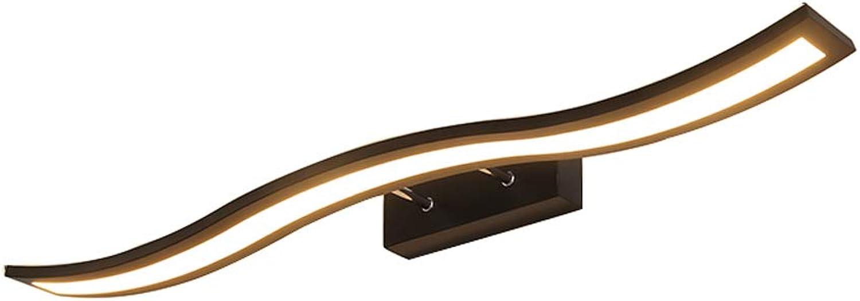 FJH Spiegel-vorderes Licht gebogenes Badezimmer-Schminktisch-Make-uplampe Badezimmer führte Spiegel-Kabinett-Licht (Farbe   Dreifarbiges Dimmen-40cm)