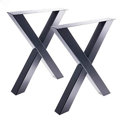 Bentatec 2 x Tischgestell in X Form schwarz Pulverbeschichtet