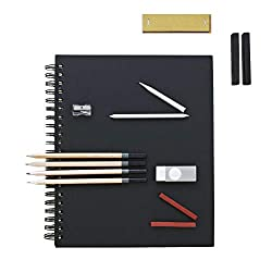 This set includes: Sketchbook 8.5 x 11 inches, 1 x Pencil sharpener, 2 x Paper stumps, 1 x Eraser, 1 x Sandpaper block, 4 x Sketching Pencils (HB, 2B, 6B x 2), 2 x Sanguine blocks, 2 x Black blocks Amazing Daler Rowney quality acid-free paper won't d...