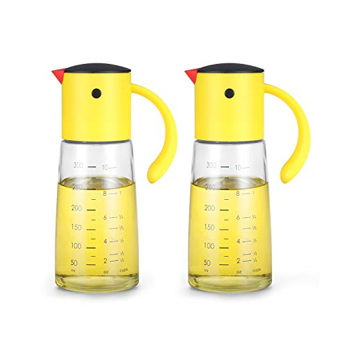 Olive Oil Dispenser Bottle for Kitchen Cooking - Auto Flip Condiment Container With Automatic Cap and Stopper - Leakproof Vinegar Glass Cruet Stainless Steel Non-Drip Spout (Set of 2)