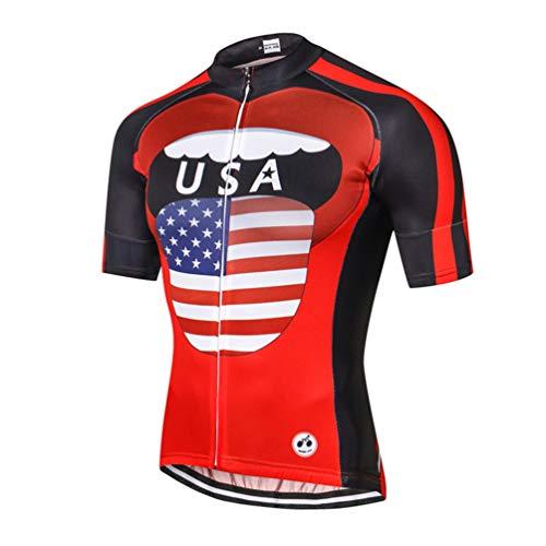 Weimostar USA Maillot Ciclismo Hombre Mtb Road Bike Shirt Verano Ciclismo Tops Manga Corta Ropa Deportes Ropa Transpirable Secado Rápido, Hombre, CD6072., Chest 33'-35.4'=Tag S