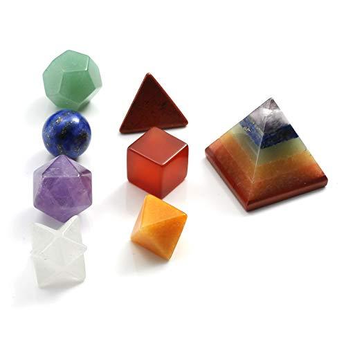 Cryst altears Chakra Reiki Piedra Platonic Solids Geometry Piedras Preciosas 7pcs Juego/Siete Colores con–Juego de decoración