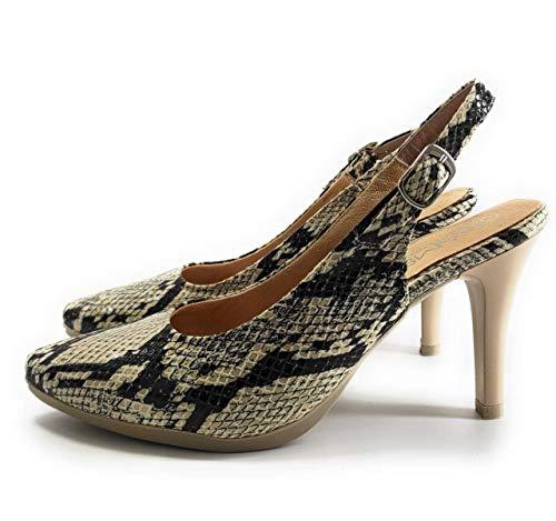 Chamby 4690 - Zapatos Tacón Mujer en Piel   Bonitos y Cómodos con Plantilla de Gel   Elegantes para Tener como Fondo de Armario   Negro - Rojo - Serpiente (Serpiente, 38 EU, 38)