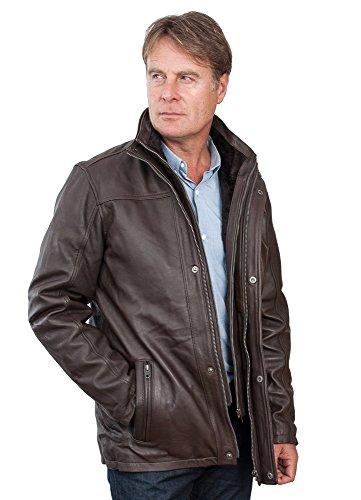 Männer von mittlerer Länge Klassische Warm Braun Lederjacke 5XL