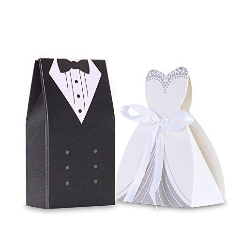 ICT 100 Pezzi Bomboniere Scatole Porta Confetti Sposo Sposa Abito Sposi Matrimonio Segnaposto 50-Sposa 50-Sposo