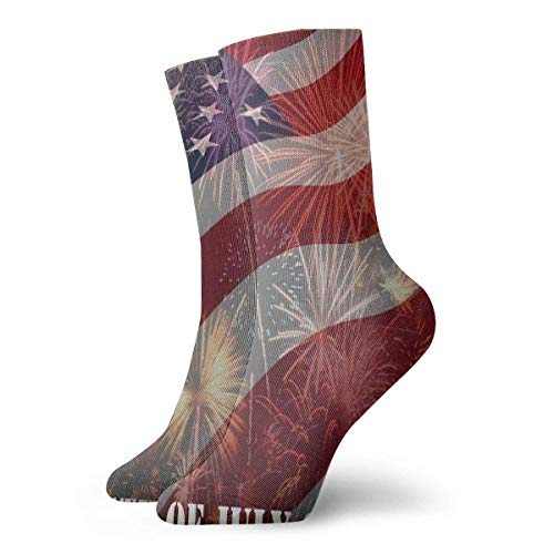 Yuanmeiju Socken stricken July 4th Independent Day Quotes 30cm Long Socks Athletic Cotton Leisure Stockings
