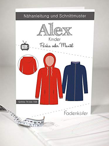 Schnittmuster Fadenkäfer Parka oder Mantel Alex Kinder Gr.74-164 Papierschnittmuster