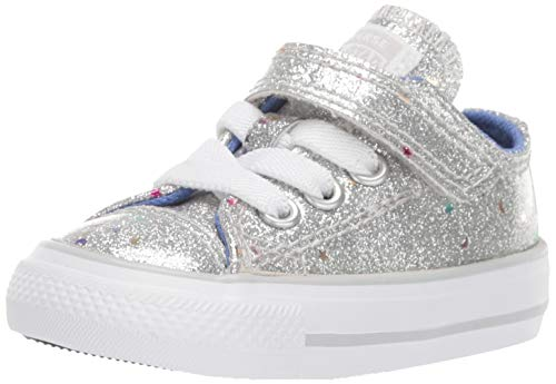 Converse Girls' Chuck Taylor All Star 1V Galaxy Glimmer Sneaker, Silver/Ozone Blue/White, 2 M US Infant
