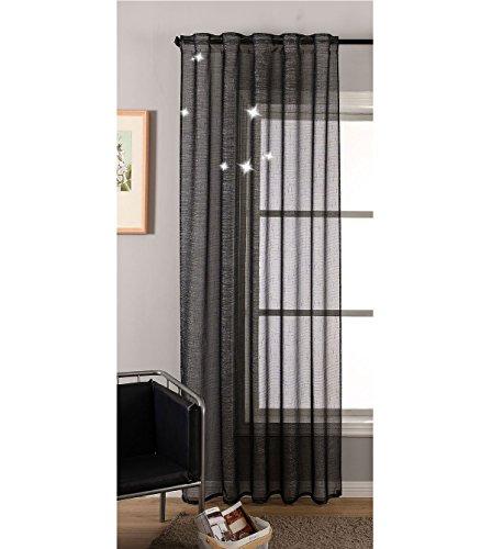 Transparente Gardine Vorhang Schal verdeckte Schlaufen Lurex Garn glänzend Schwarz HxB 245x140 cm (Höhe x Breite...