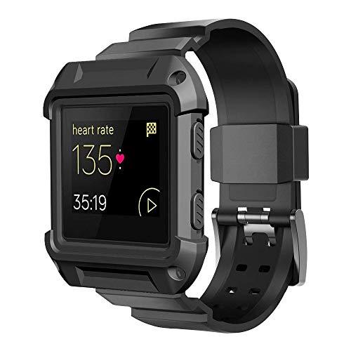 Simpeak Armband Kompatibel mit Fitbit Blaze, Rahmenschutzgehäuse mit elastischem Band Ersatzbänder Kompatibel für Fitbit Blaze Smart Fitness-Uhr, Schwarz