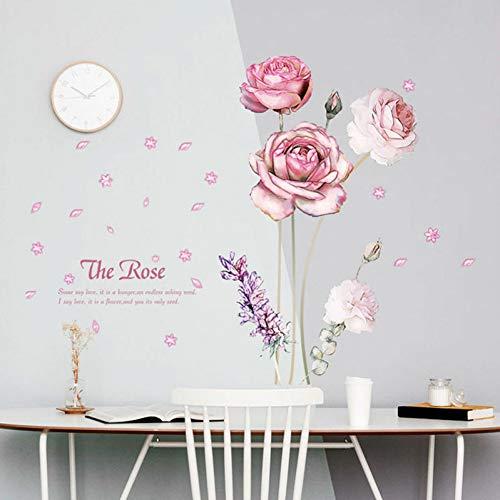 Romantische Rosa Rose Blumen Veranda Kleiderschrank Wohnzimmer Hochzeit Schlafzimmer Tür Fenster Tv Hintergrund Aufkleber Wanddekoration Aufkleber