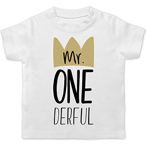 Shirtracer  Geburtstag Baby - Mr One Derful -BZ02 - Baby T-Shirt Kurzarm , 01 Weiß ,  12-18 Monate