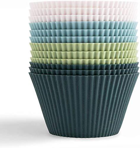 Outwit Backformen aus Silikon, Standard Silikonformen für Muffins 4 Farben, 12er-Set Wiederverwendbare antihaftbeschichtet BPA-frei - Cupcakeförmchen für Kuchen, Eincreme und Pudding