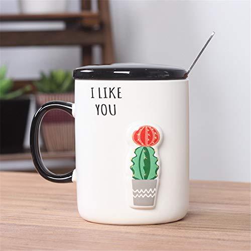 RZHIXR Taza Tridimensional 3D Taza De Café De Cactus En Relieve Pintada A Mano con Cuchara De Tapa, Taza De Leche para El Desayuno De Los Niños Taza De Agua para El Hogar 350ml