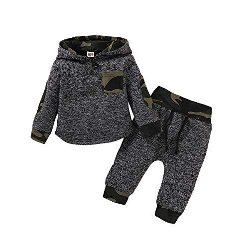 Borlai Baby Boy Girl Sudadera con Capucha Pantalones y Tops Conjuntos de Ropa Conjuntos de Regalos de Sudadera Encantadora de Moda, 2 Piezas, Camuflaje, 18-24 Meses