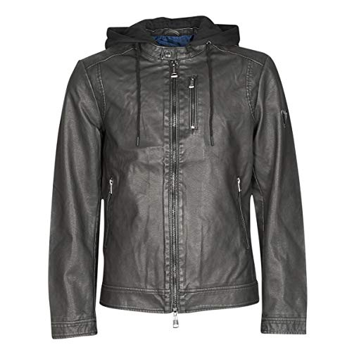 Guess Vintage Eco-Leather JKT Jacken Herren Schwarz - S - Lederjacken/Kunstlederjacken Outerwear