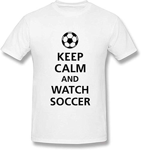 classic-glory Keep Calm and Watch Soccer Men's Pop Culture Short Sleeve Crew Neck Graphic Tees Shirts Heavyweight, White