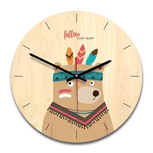 Relógio BesPORTBLE 1 peça estilo nórdico de conto de fadas decorativo de madeira redonda para dormitório, quarto, decoração de casa