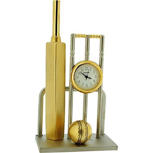 GTP Miniature Two Tone Cricket Bat, Ball & Wickets Novelty Collectors Clock IMP1083