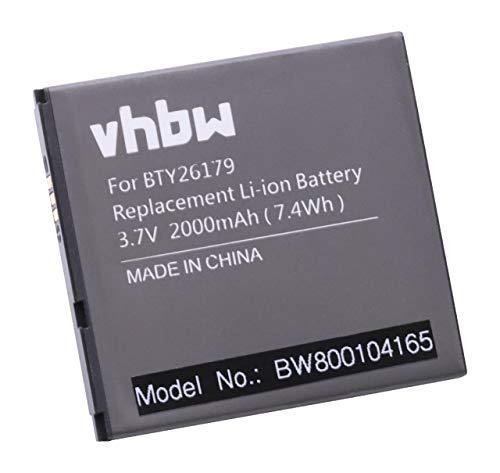 vhbw Li-Ion Akku 2000mAh (3.7V) für Handy Telefon Smartphone Elson Mobistel Cynus T1 wie BTY26179, BTY26179MOBISTEL/STD.