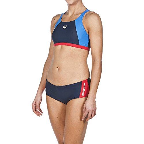 ARENA Damen Sport Bikini Drom, Navy/Red/Pix Blue, 36